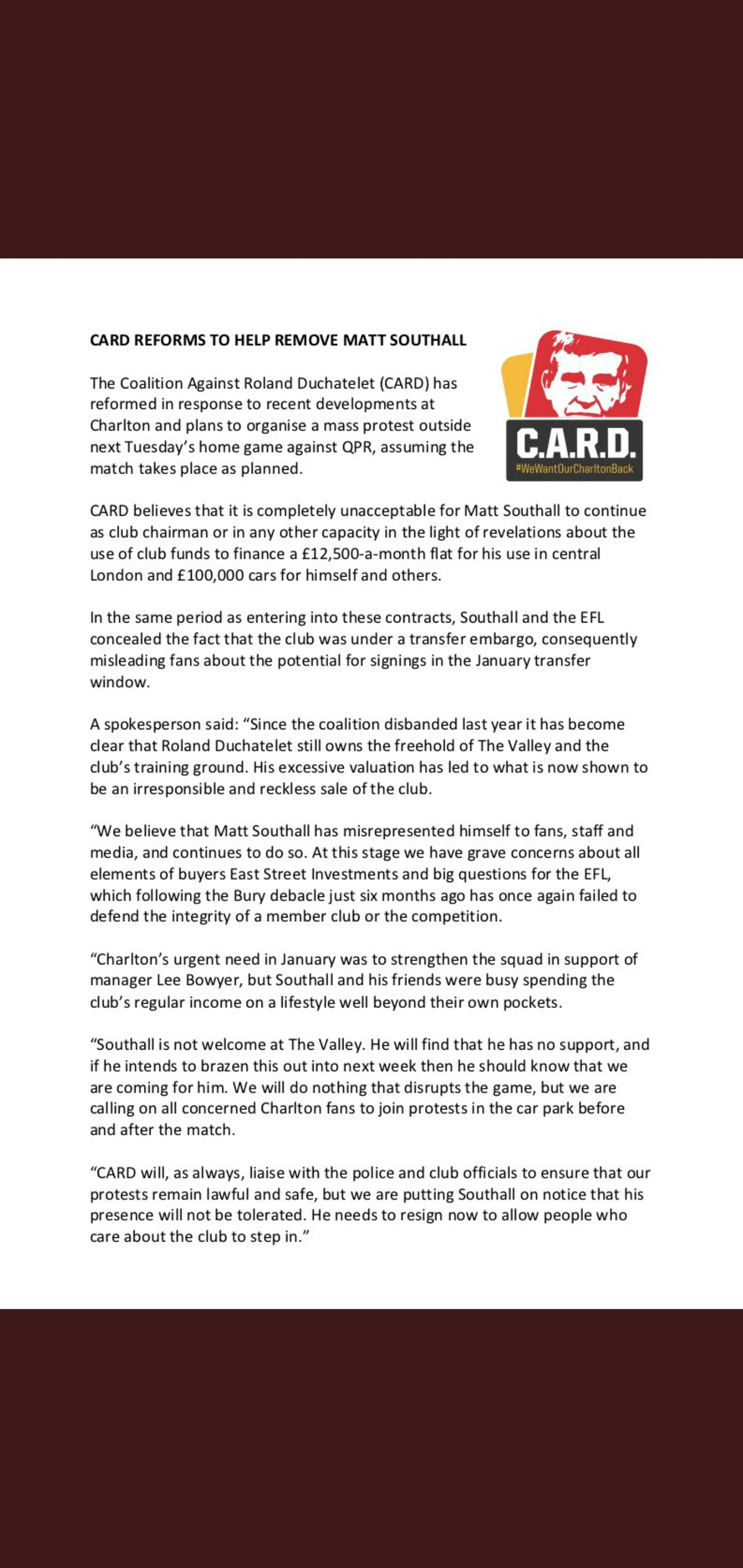CARD statement
