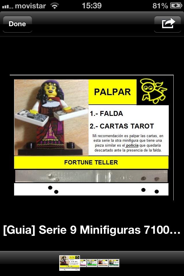 Serie Minifiguras Lego 9 x 1 Tarjeta de tarot para la serie 9 piezas Fortune Teller