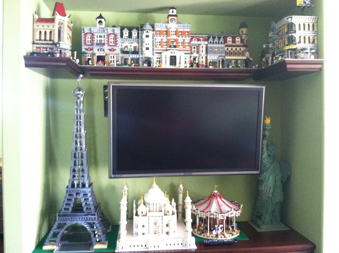 How do you display your assembled LEGO sets?