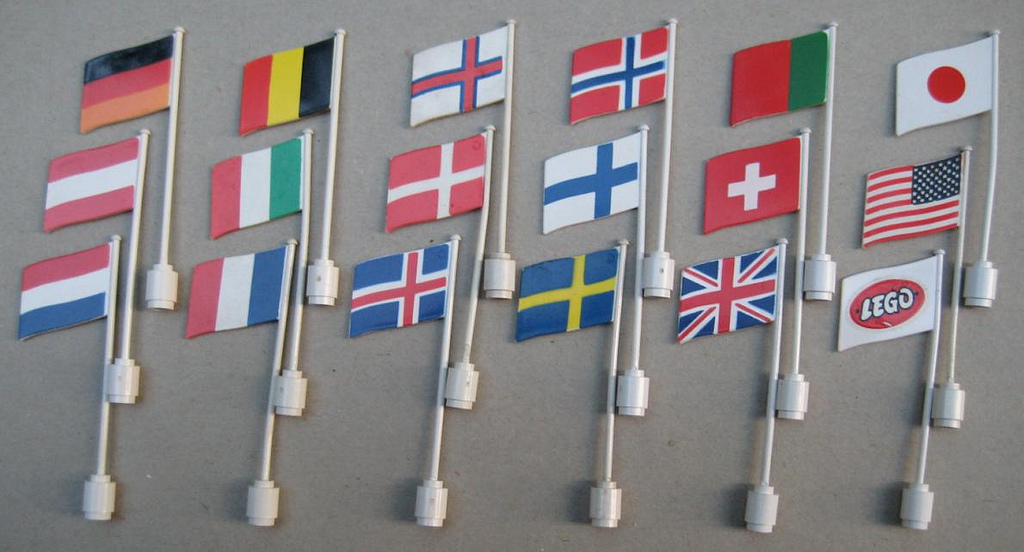 LEGO Lot of Four Flags with Poles