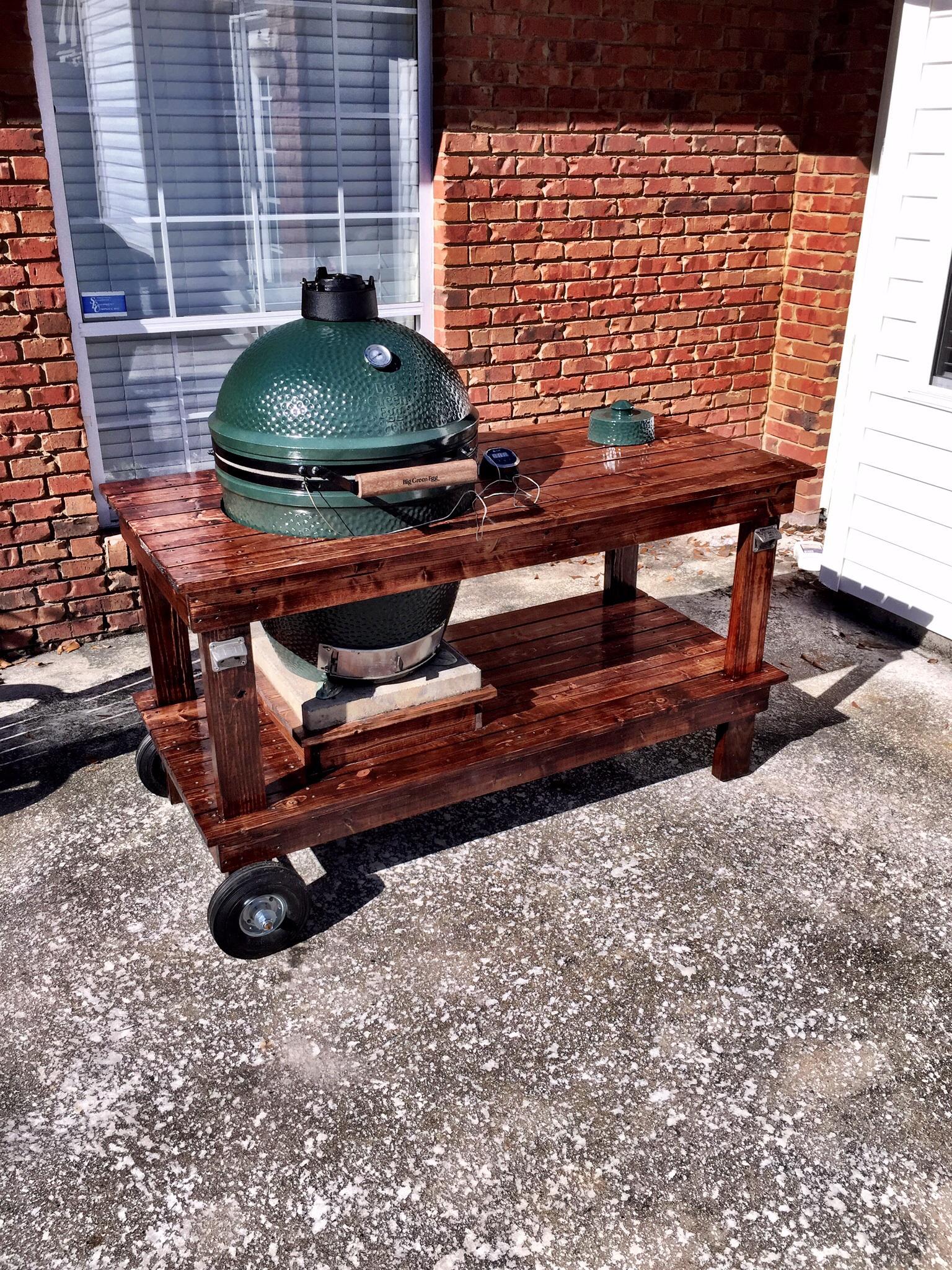 New bge table big green egg egghead forum the for Weber grillburste