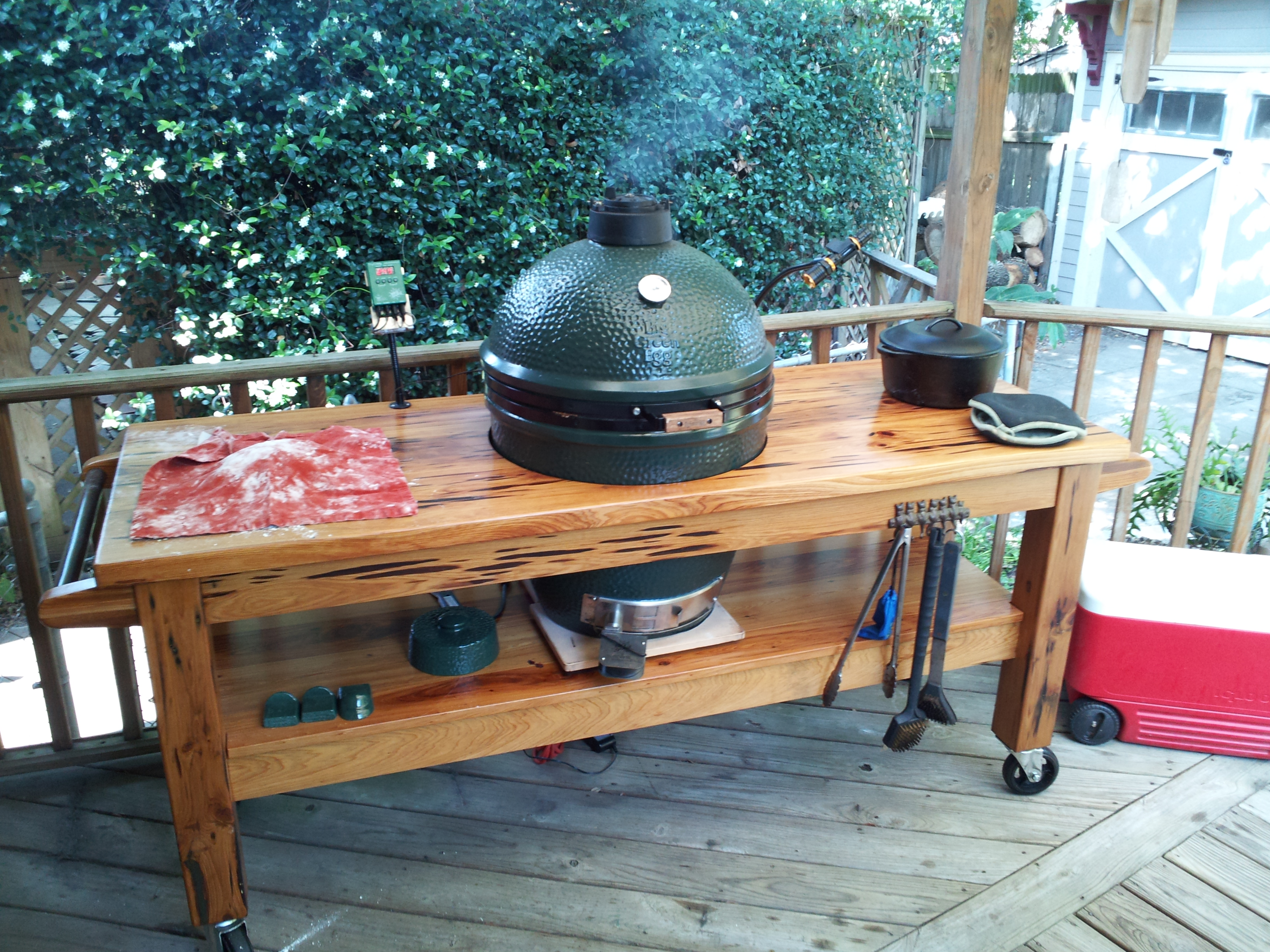 Wood Or Stainless Steel Table Big Green Egg Egghead