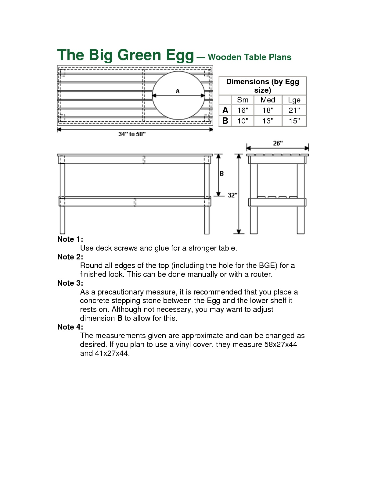 Big Green Egg Table Dimensions Designs