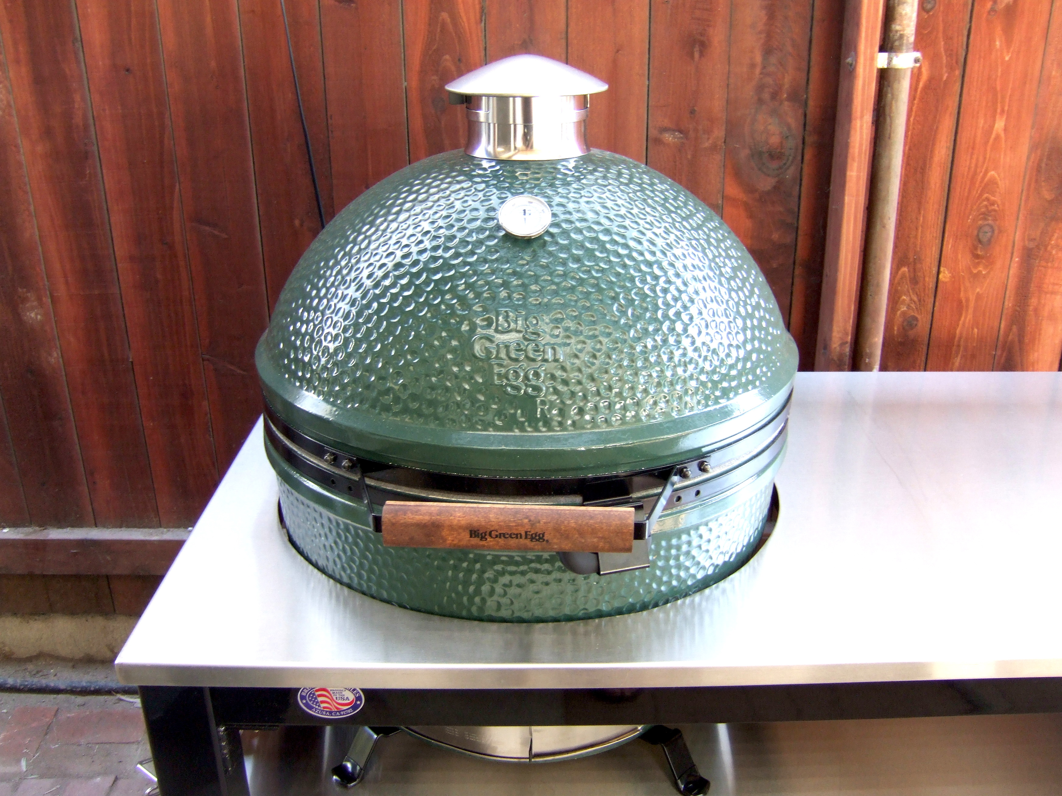 New Stainless Steel Table Custom Built For My XL Egg Big Green Egg - Custom stainless steel table top
