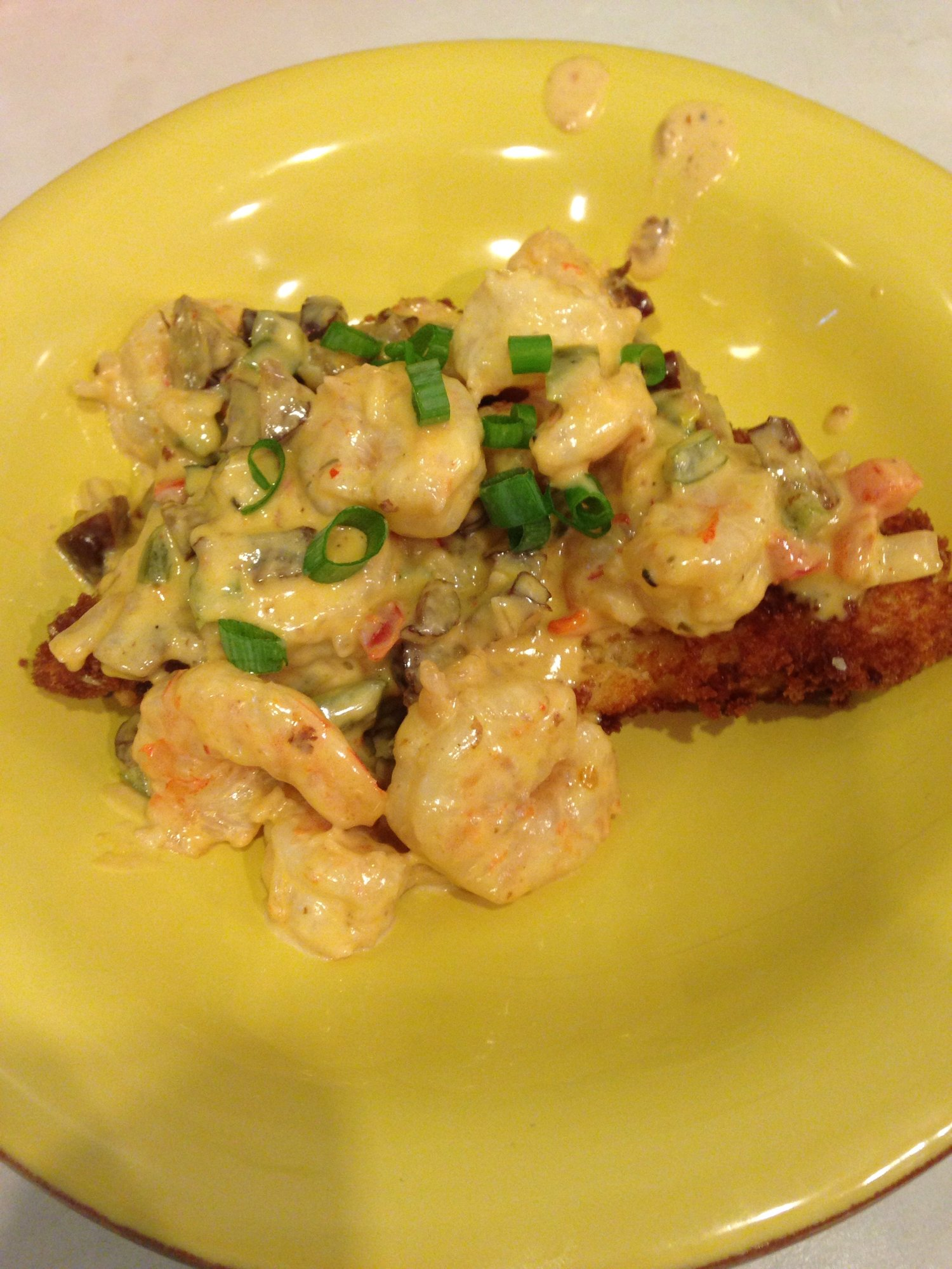 Shrimp and fried grit cake with Tasso cream sauce — Big ...