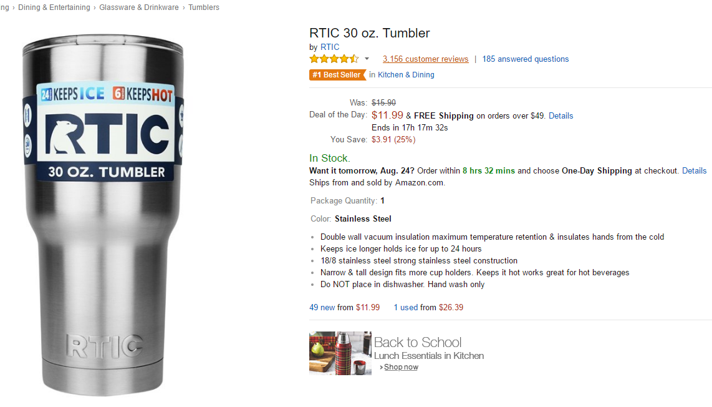 21cfdf2489b OT - RTIC 30 Sale on Amazon - $11.99 — Big Green Egg - EGGhead Forum ...