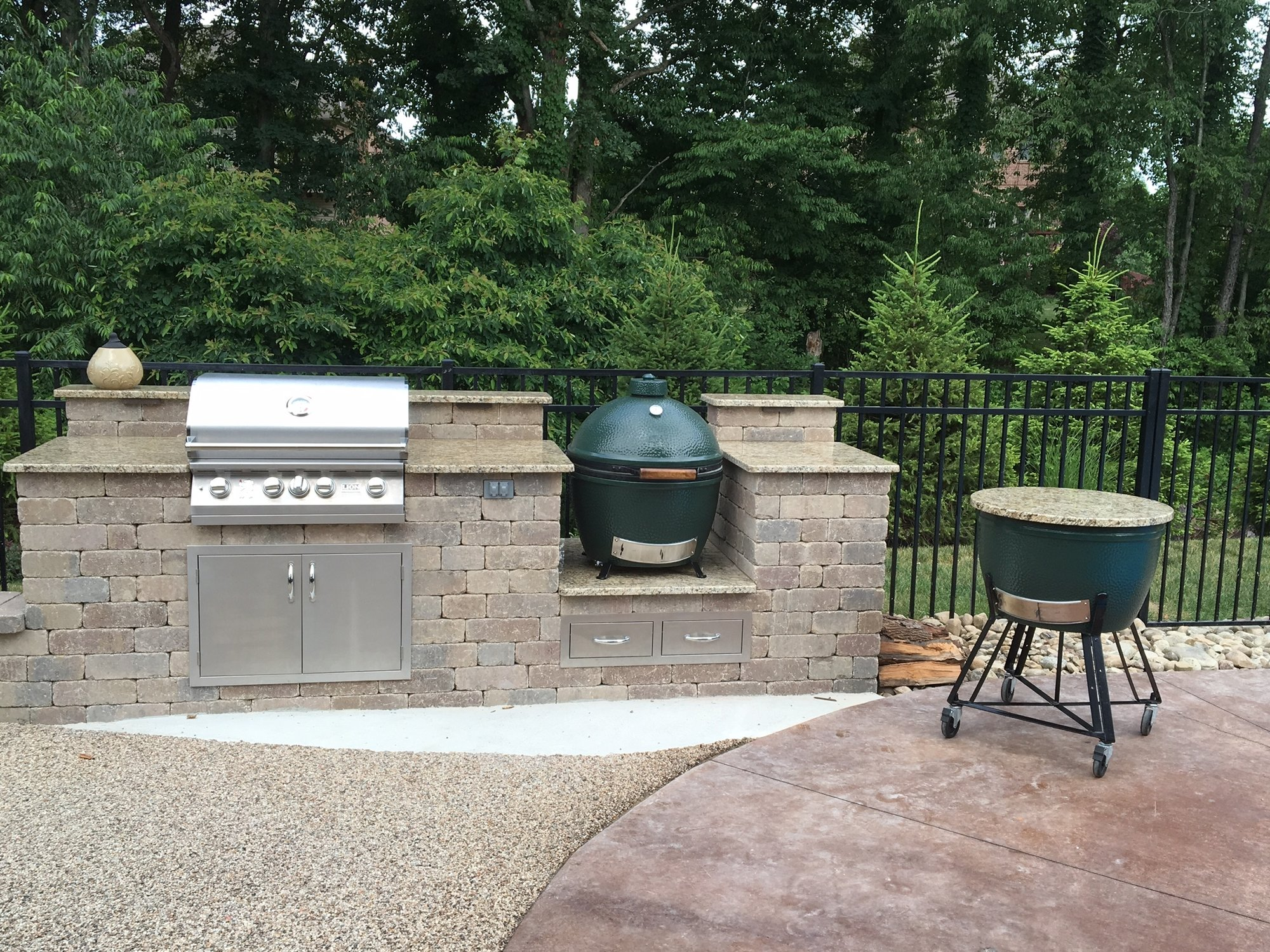 outdoor kitchen island big green egg egghead forum