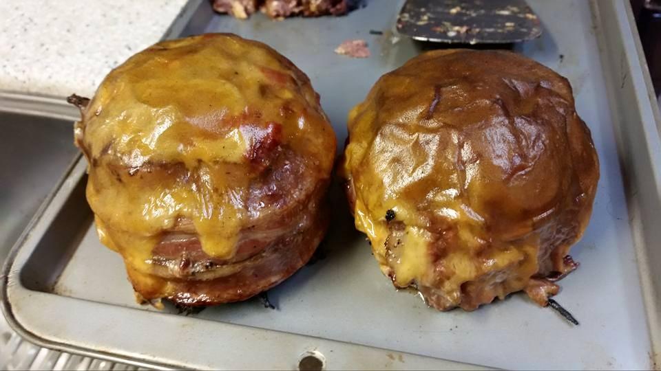 bacon wrapped stuffed hamburger bowls big green egg egghead