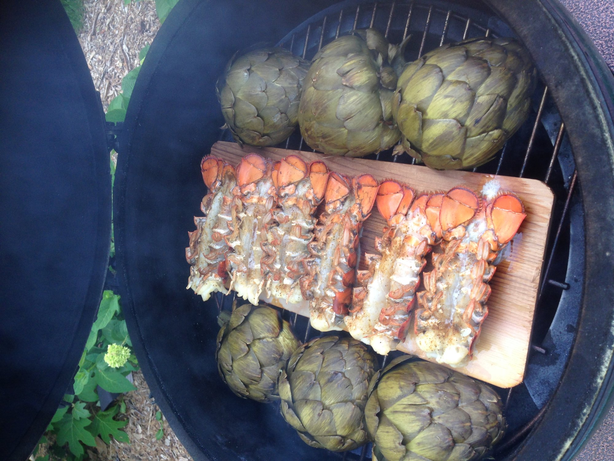 Cedar planked lobster tails and artichoke — Big Green Egg - EGGhead ...