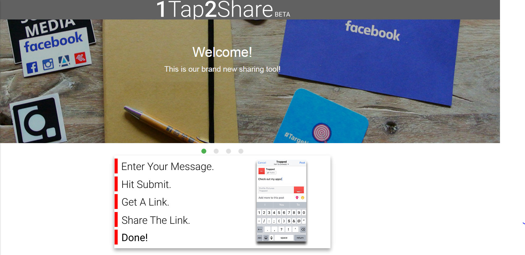 Users can share on Facebook, SMS, Email, Twitter and Google