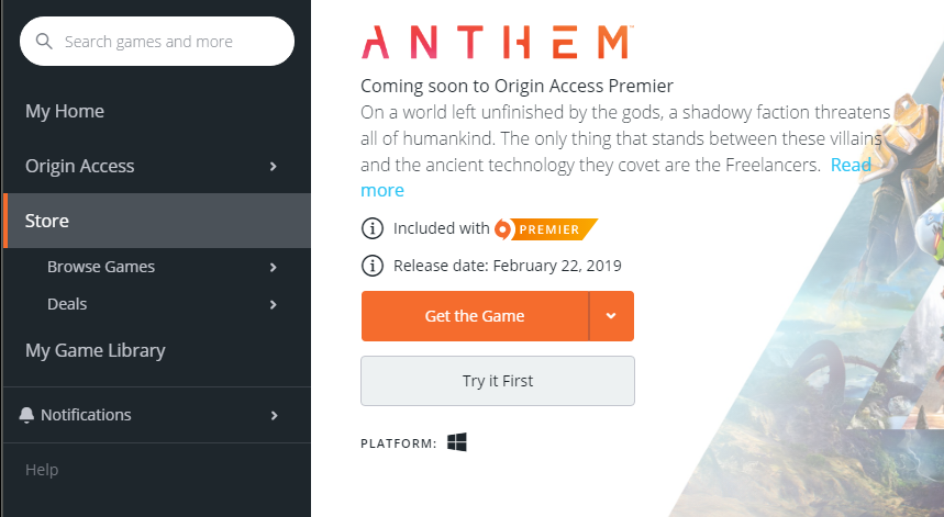 Anthem] Early Access is live  Please mark spoilers  God speed