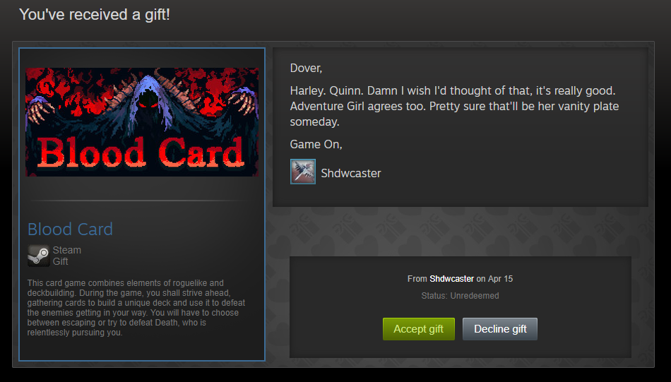 what happens when you decline a gift on steam
