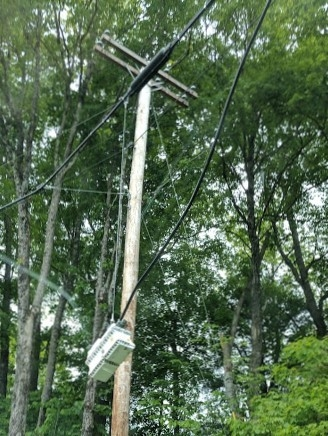 White box hanging from telephone pole, what is it? — Penny