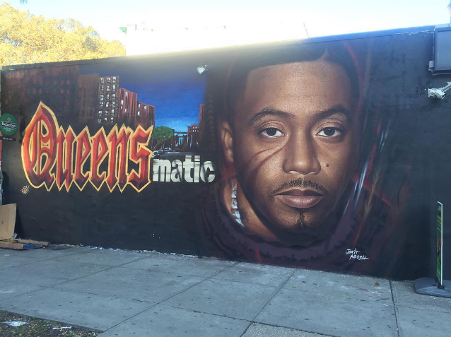 Mural dedicated to nas being painted in queens bridge for Nas mural queensbridge