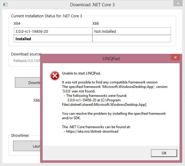 Error that LINQPad cannot find the Microsoft.WindowsDesktop.App 3.0.0 framework