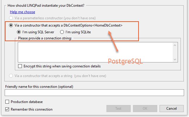 Feature request: EfCore DbContext Postgres support — LINQPad