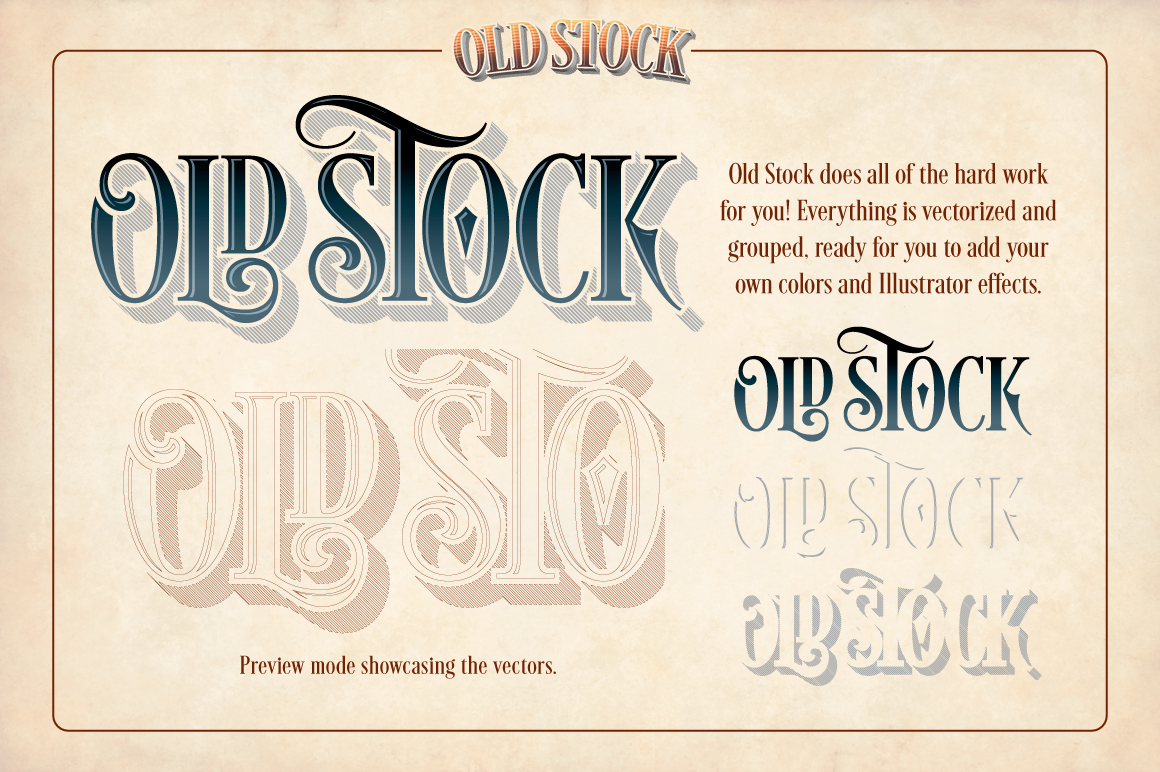 Old Stock Actions for Adobe Illustrator — TypeDrawers