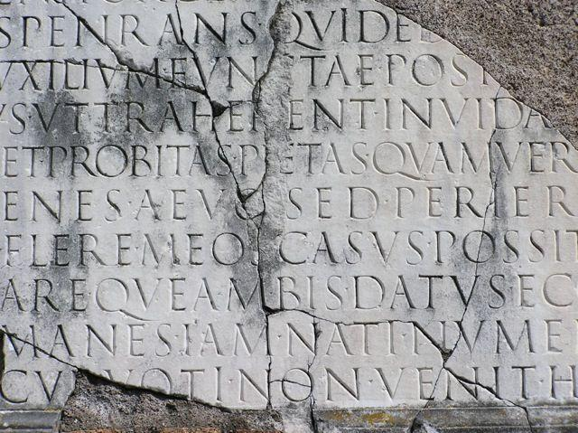 Roman capitals inscription at Via Appia