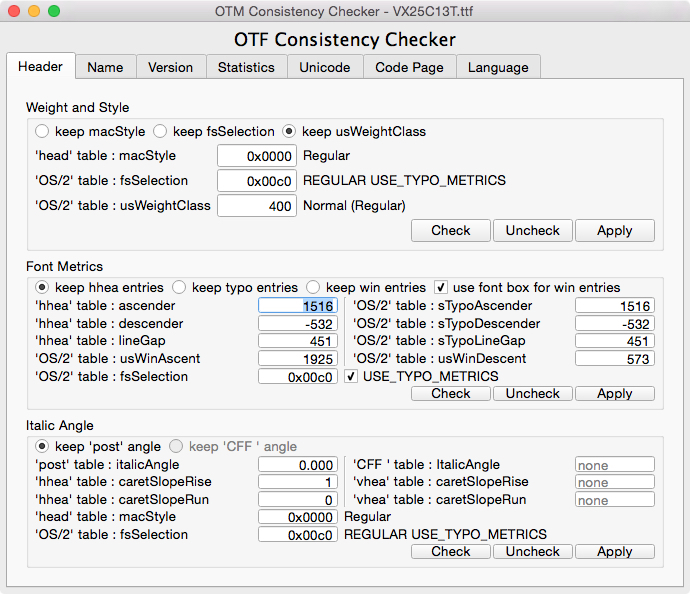 OTM Consistency Checker Header