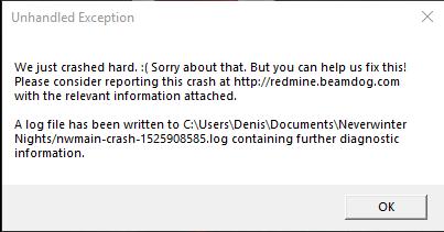 Crash on Startup — Beamdog Forums