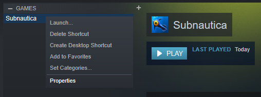 BUG] Playing the Epic Games version of Subnautica via Steam
