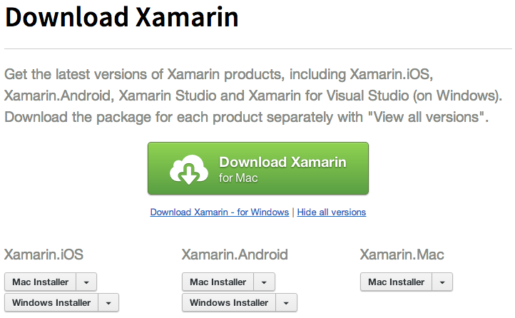 Xamarin Downloads Page