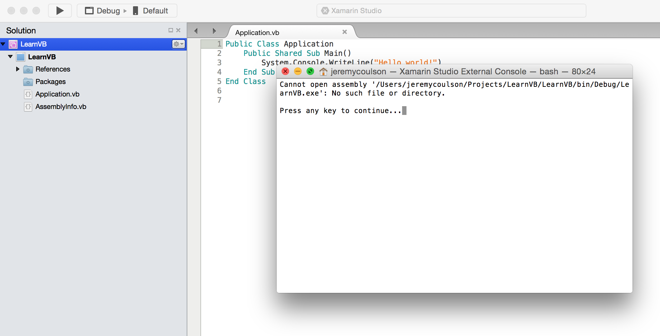 Why does testing VB Net in Xamarin fail with 'no such file or