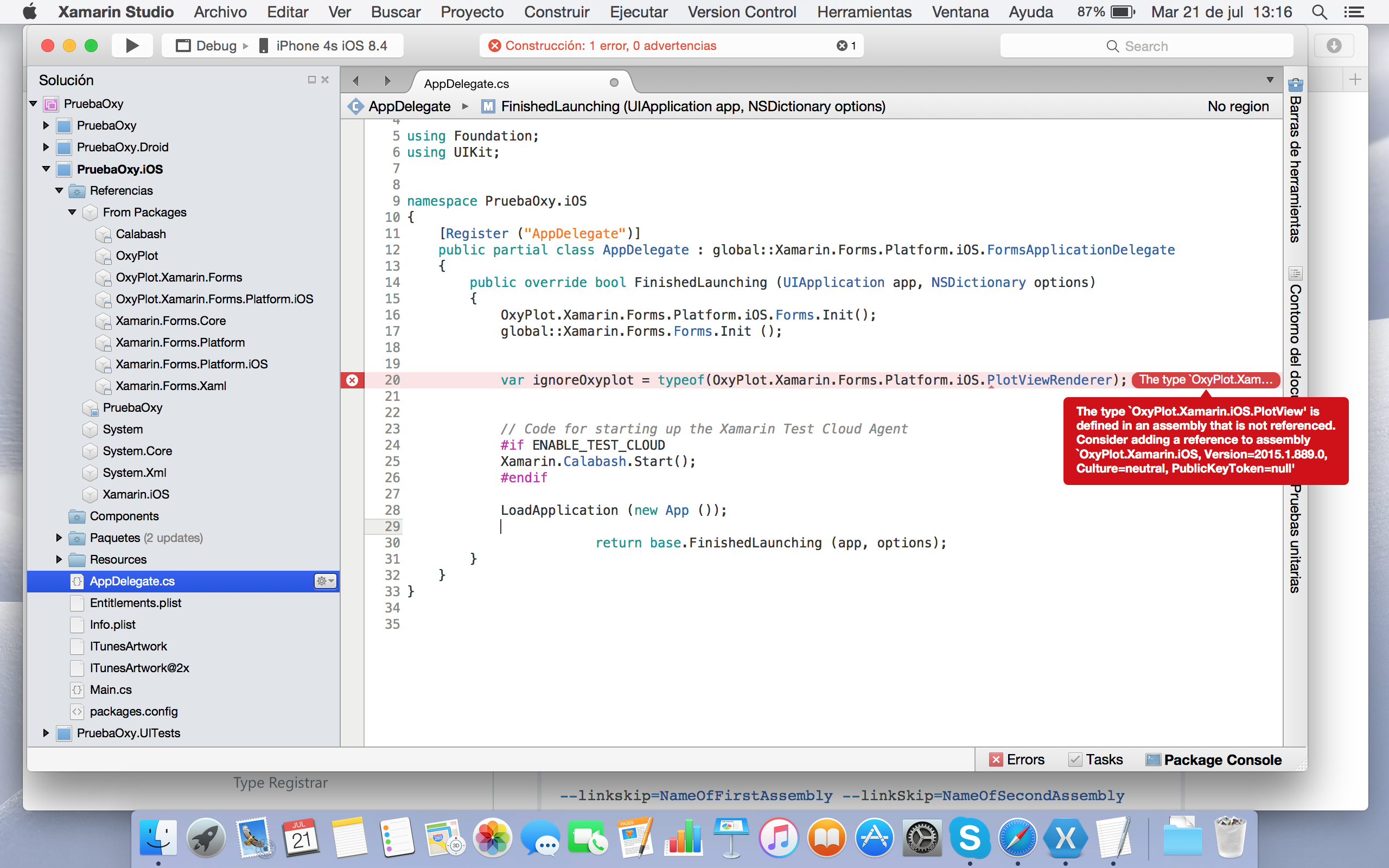 Oxyplot Run Xamarin forms iOS not found ref to OxyPlot Xamarin iOS