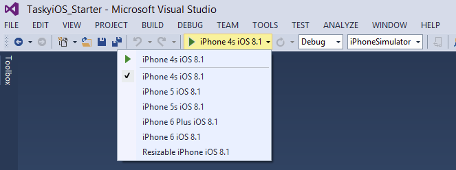 How select iPhone device for running an app in Visual Studio