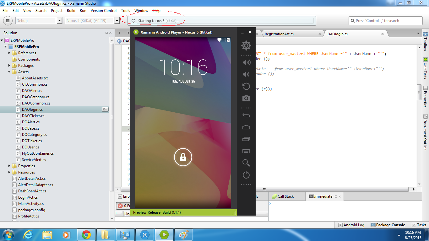 Application not deploying in Android Player using Xamarin