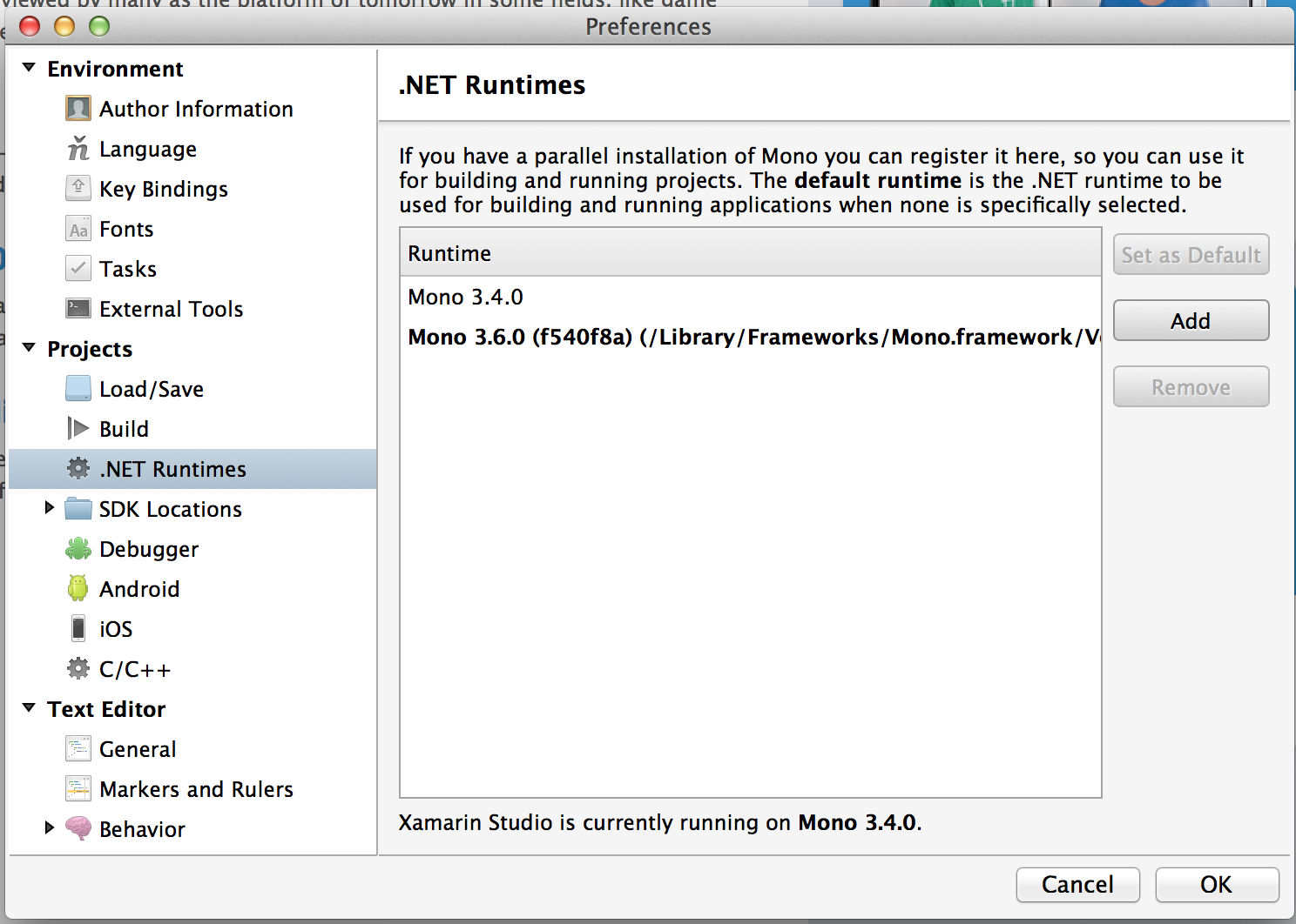 Xamarin Studio has set Mono 3 4 default on system where 3 6