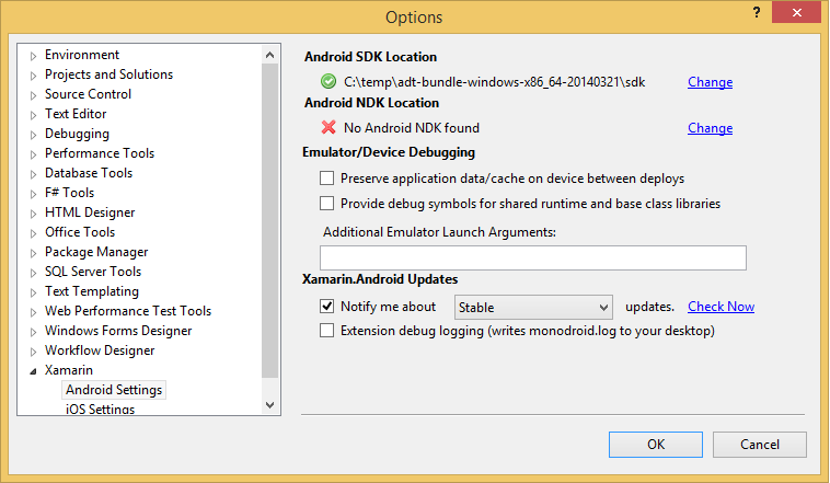 The Android SDK could not be found  Make sure the path to the SDK is