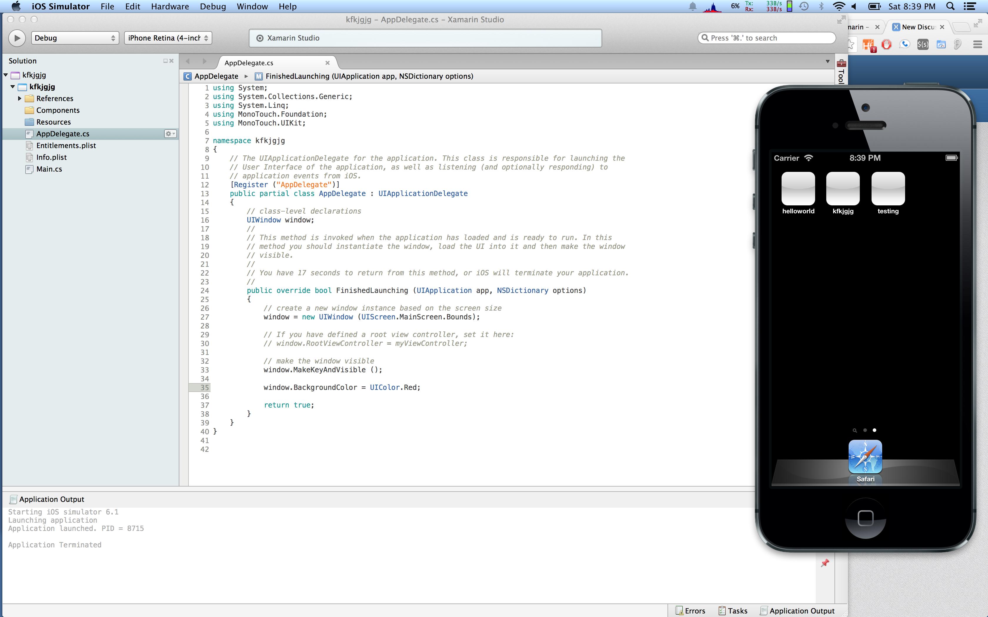 iOS Simulator -