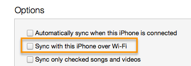 iTunes, Options -> Sync with this iPhone over Wi-Fi