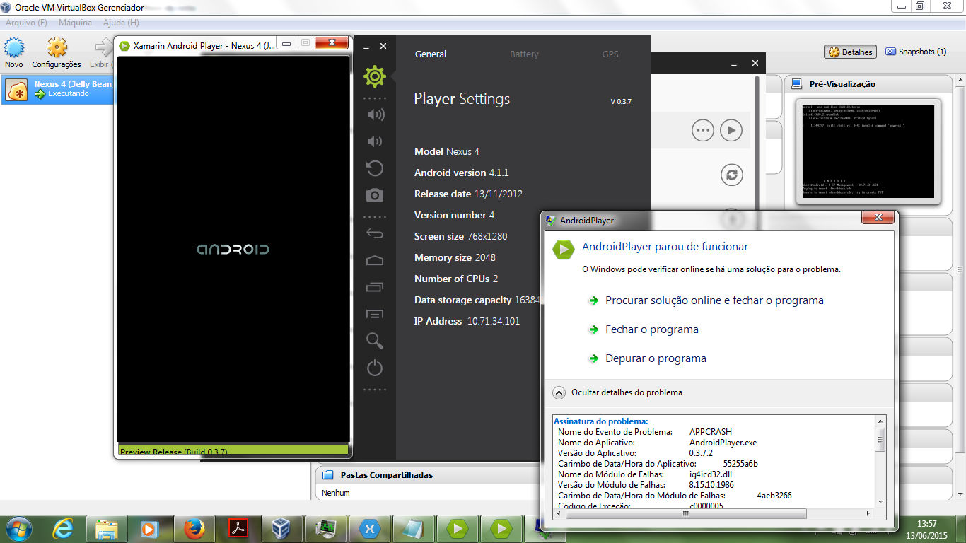 Xamarin Android Player stopped working — Xamarin Community