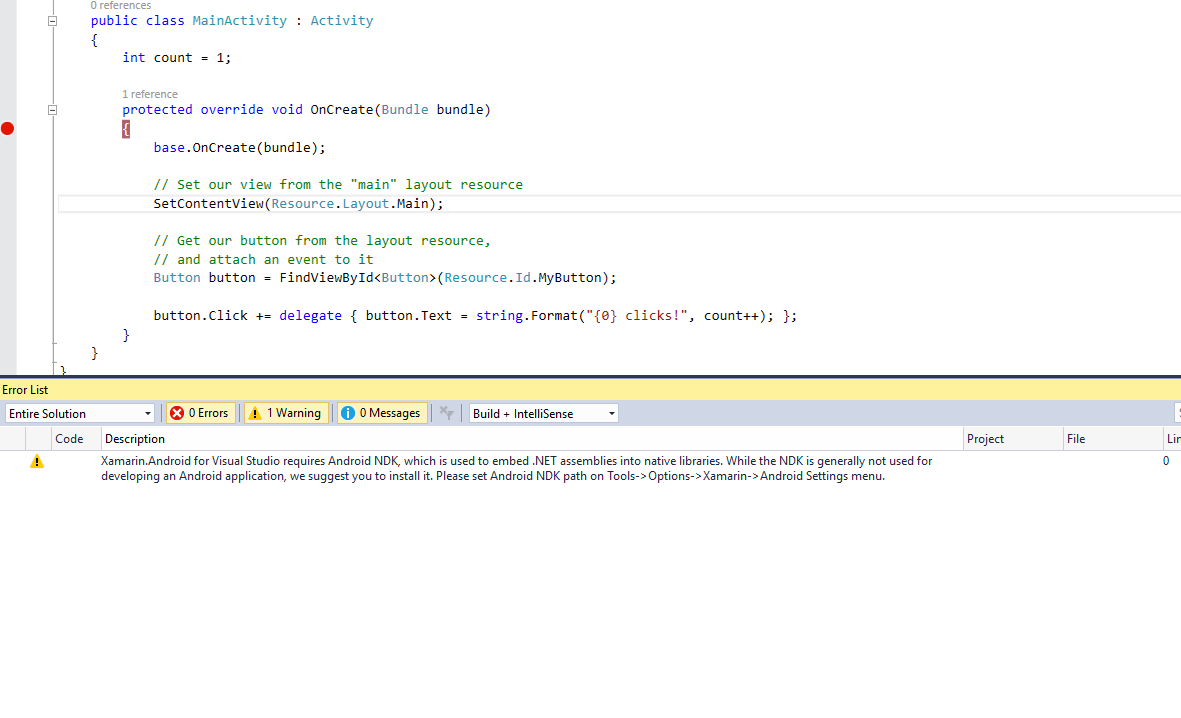 Warning message when running Xamarin Android project in VS
