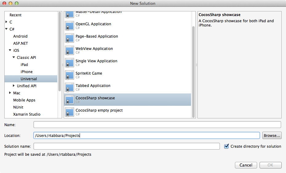Cocossharp project templates for xamarin studio xamarin for Xamarin studio code templates