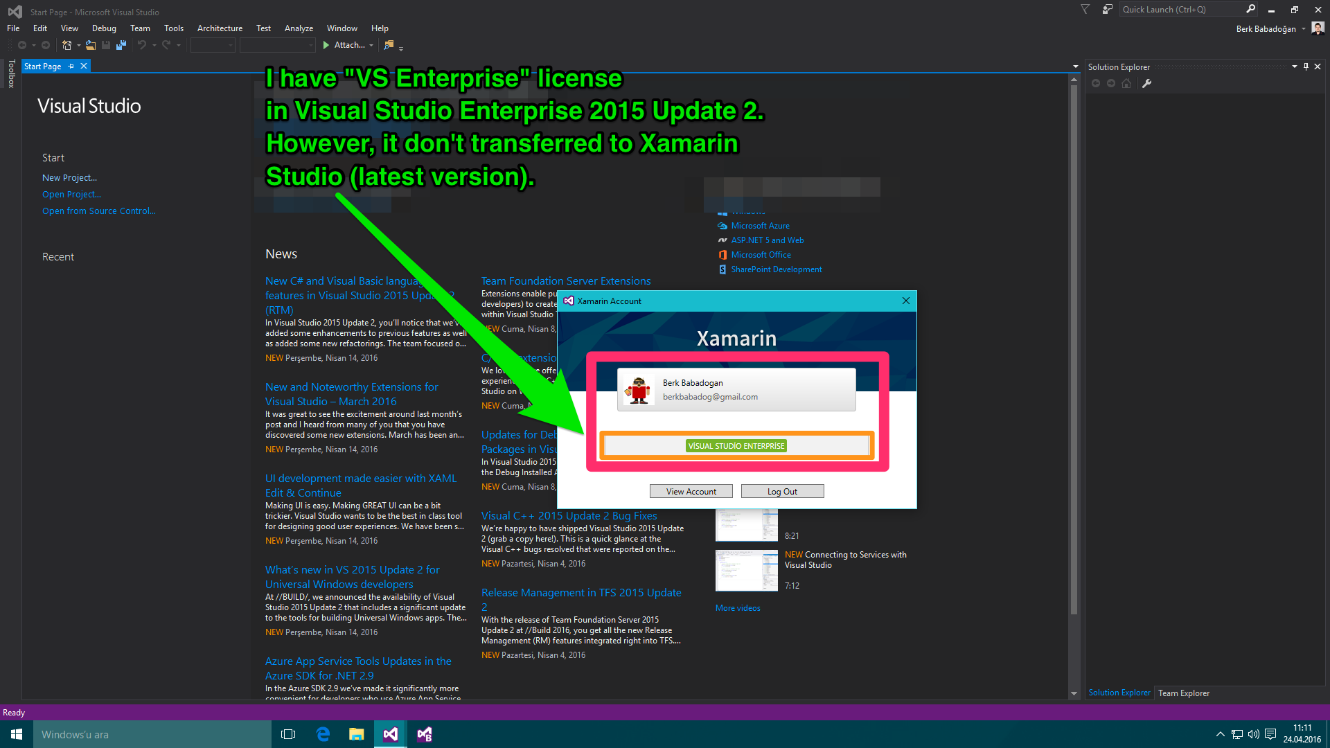 Visual studio 2015 xamarin license