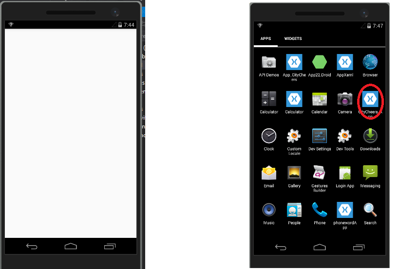 xamarin android emulator how to add app