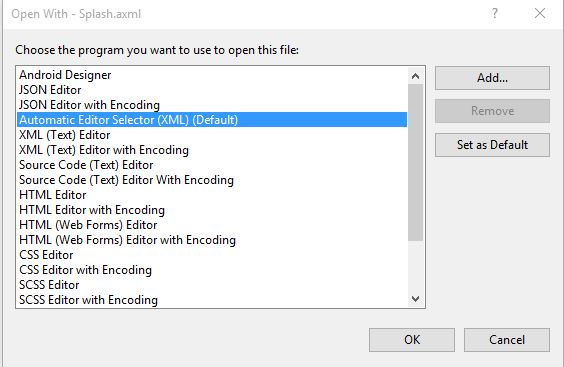 How can I get VS to default to opening AXML in code view? — Xamarin