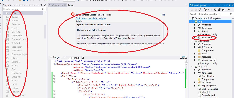 Xamarin xaml design view is not displaying in visual studio errorg 681k ccuart Images
