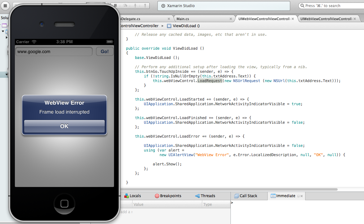 UIWebView - Error - Frame load interrupted — Xamarin Community Forums