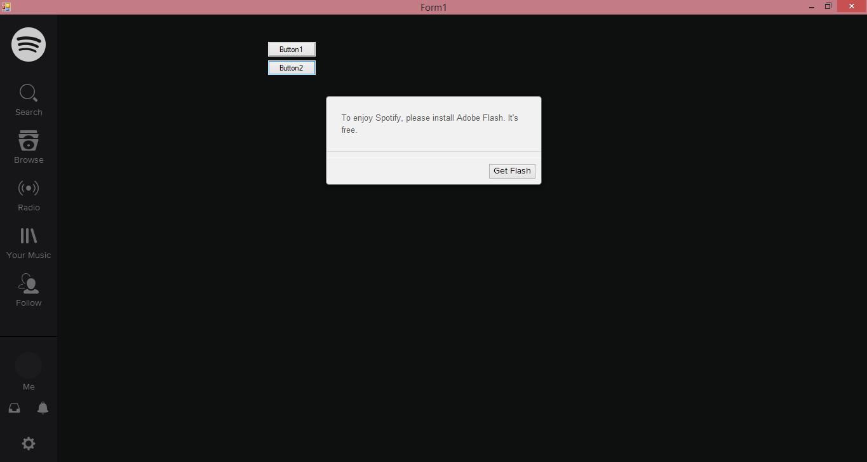 How do I make flash working in a visual studio Webbrowser