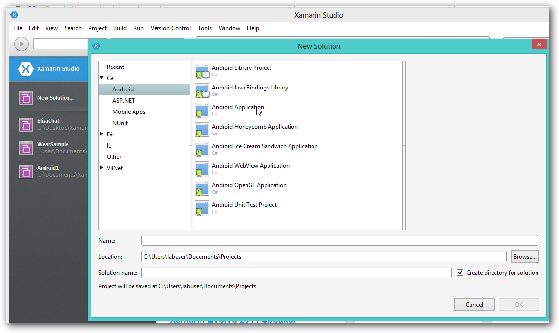 xamarin studio code templates - could not find android wear template in xamarin studio