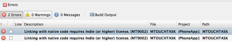 Linking with native code requires Indie (or higher) license. (MT9002)