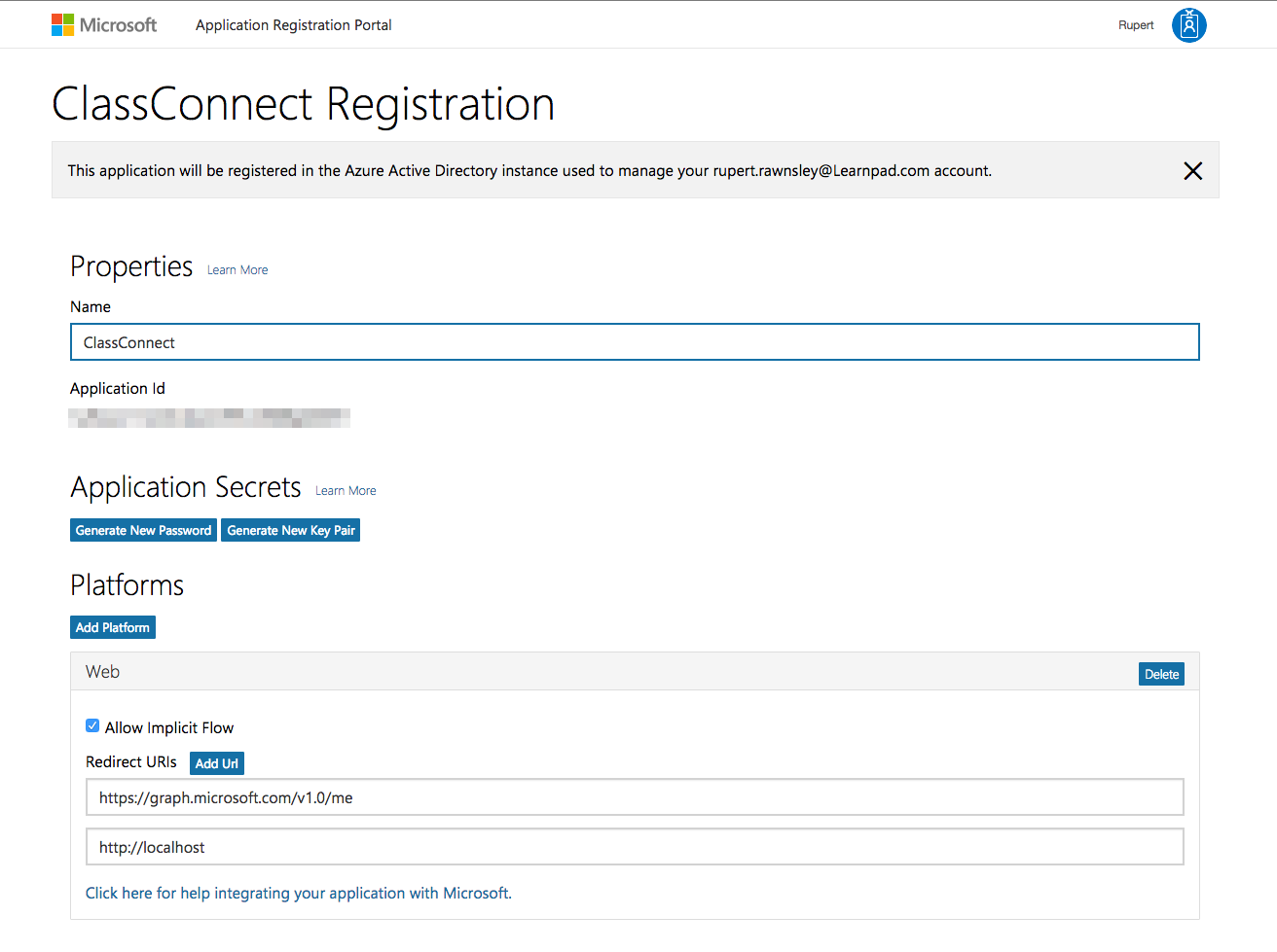 Sample for using Microsoft Account as an Identity provider