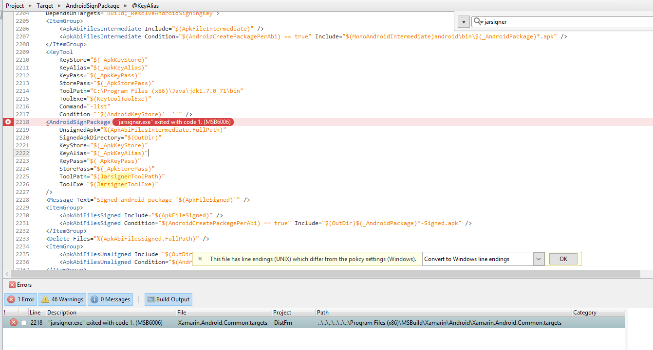 jarsiger exe exited with code 1  MSB6006 - Stuck — Xamarin