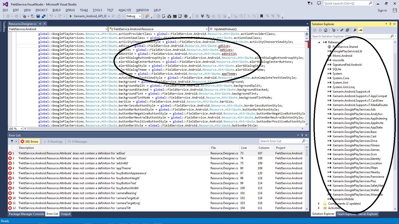 FieldService pre-built example app error compiling — Xamarin
