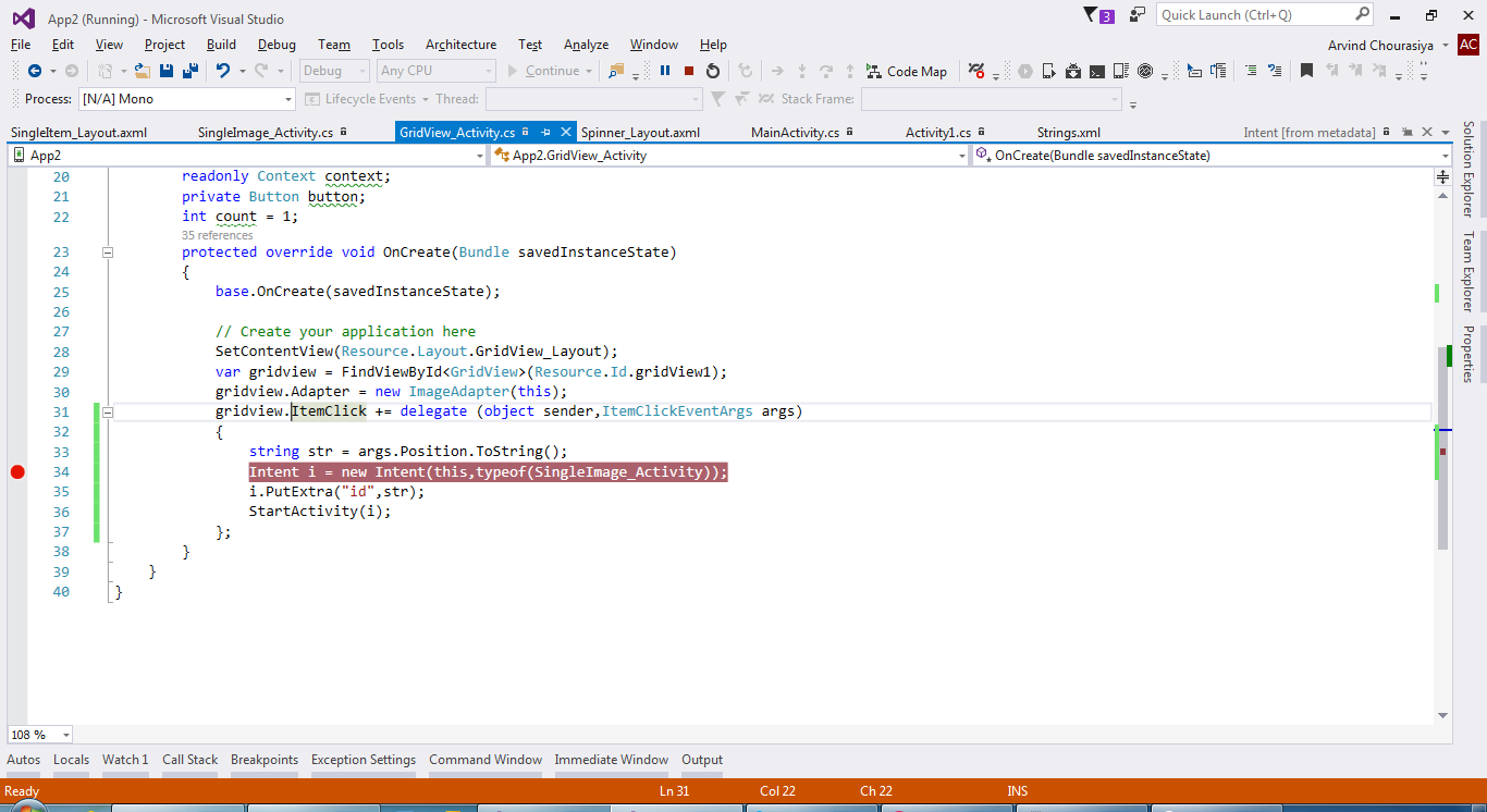 visual studio 2013 exception settings