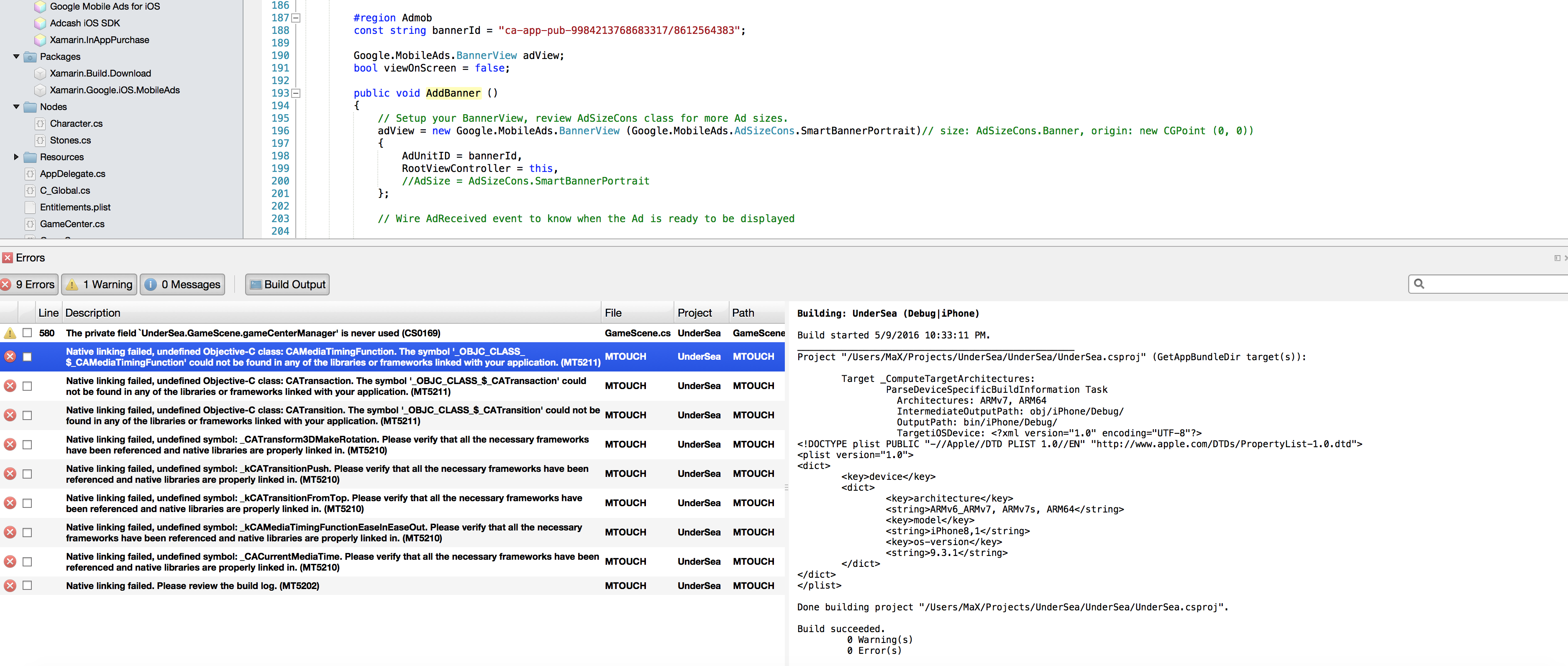 googleAd component error on spritekit - Native Linking errors
